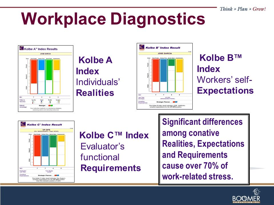 41 Kolbe C™ Index Evaluator's functional Requirements Kolbe B™ Index Workers' self- Expectations Kolbe A Index Individuals' Realities Significant differences among conative Realities, Expectations and Requirements cause over 70% of work-related stress.