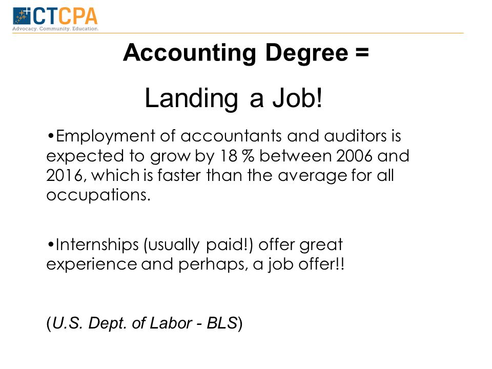 Accounting Degree = Landing a Job.