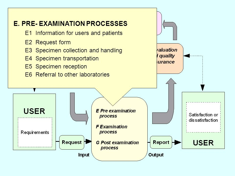 9 E. PRE- EXAMINATION PROCESSES E1 Information for users and patients E2 Request form E3 Specimen collection and handling E4 Specimen transportation E