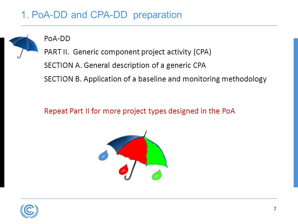7 PoA-DD PART II.Generic component project activity (CPA) SECTION A.