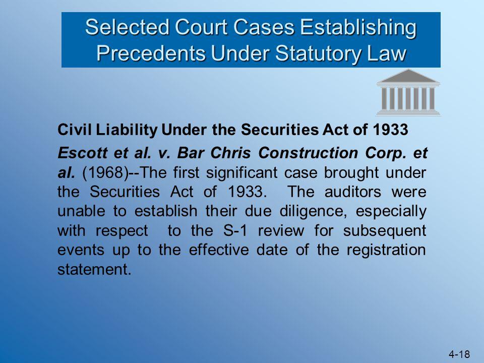 4-18 Selected Court Cases Establishing Precedents Under Statutory Law Civil Liability Under the Securities Act of 1933 Escott et al. v. Bar Chris Cons