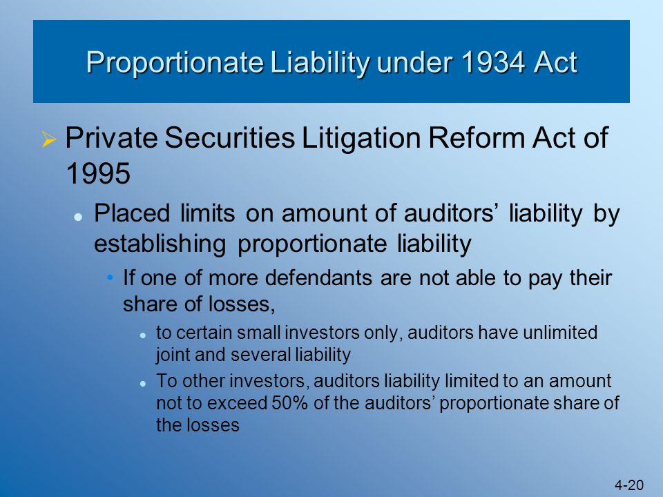 4-20 Proportionate Liability under 1934 Act  Private Securities Litigation Reform Act of 1995 Placed limits on amount of auditors' liability by estab