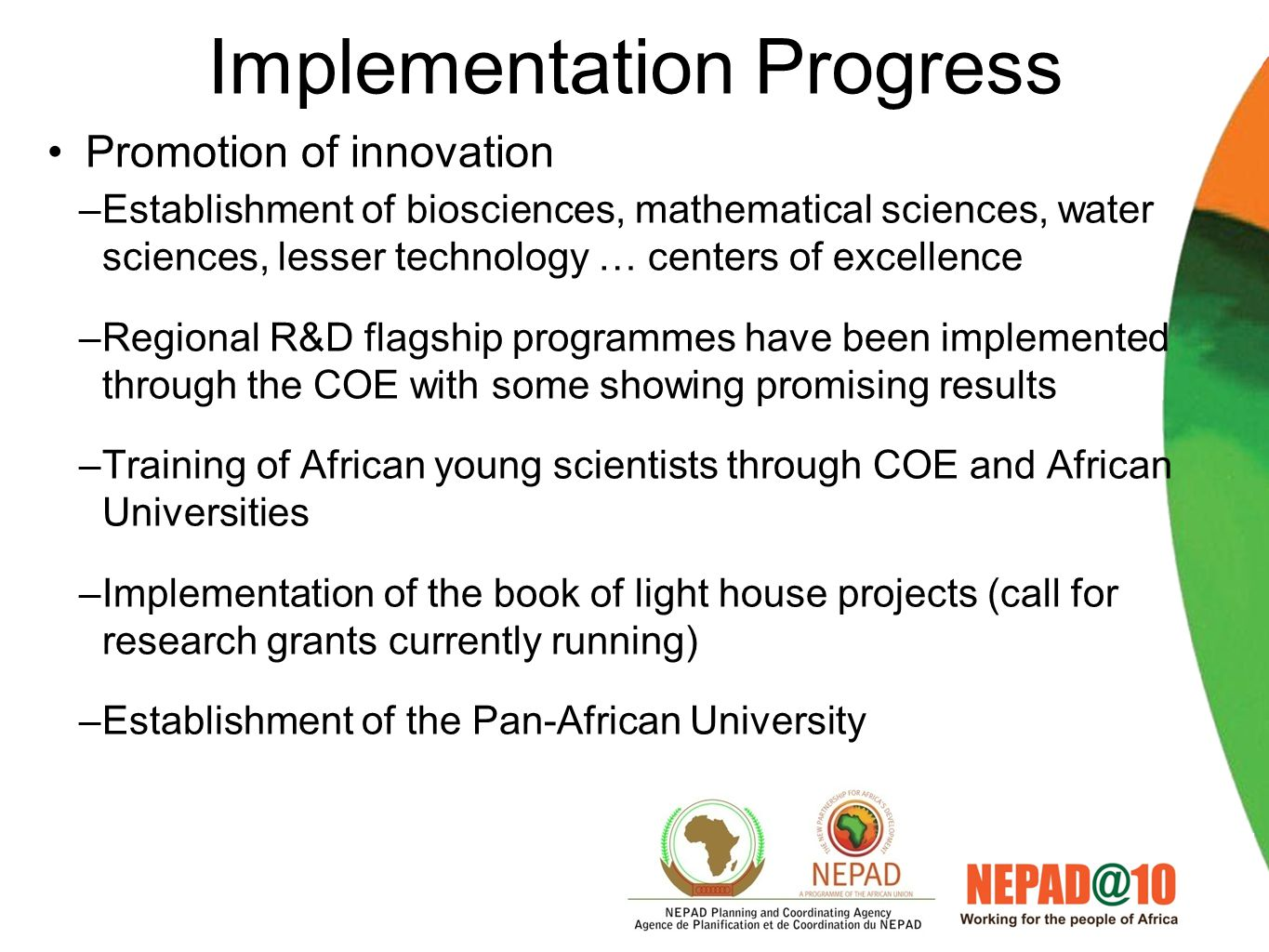 Implementation arrangements Implementation at different levels –Continental Programmes –Sub-Regional Programme –National Programmes