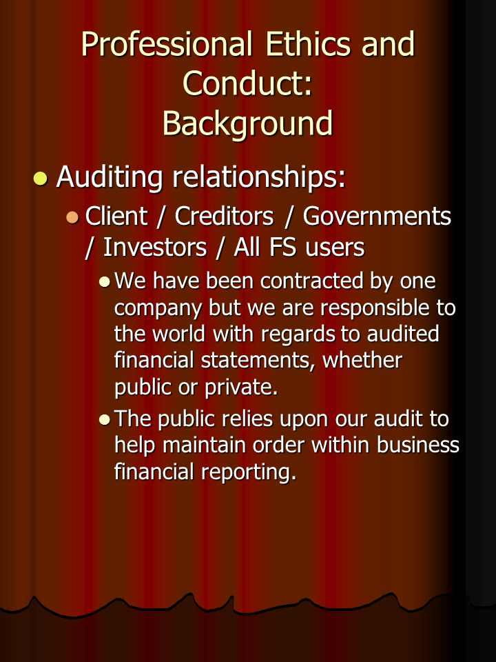 Professional Ethics and Conduct: Background Auditing relationships: Auditing relationships: Client / Creditors / Governments / Investors / All FS users Client / Creditors / Governments / Investors / All FS users We have been contracted by one company but we are responsible to the world with regards to audited financial statements, whether public or private.