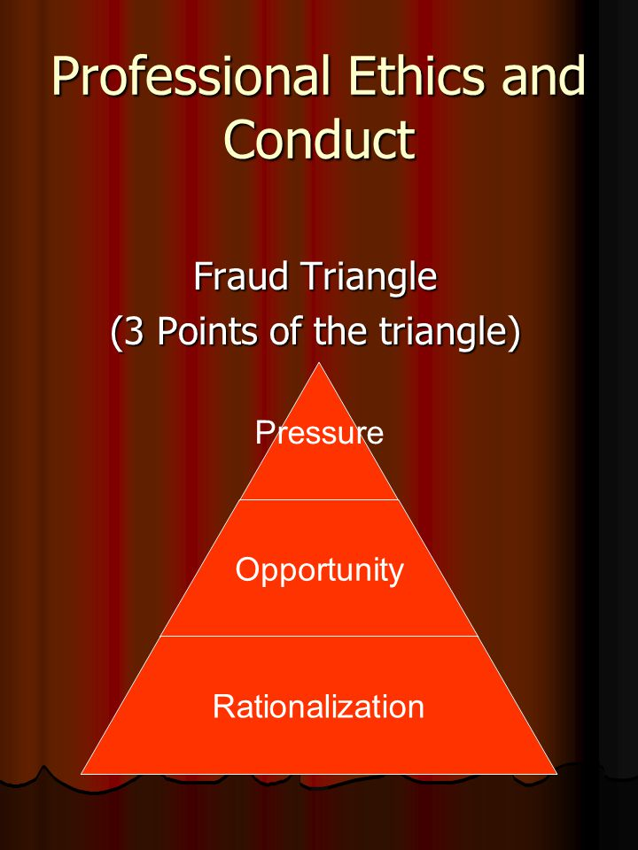 Professional Ethics and Conduct Fraud Triangle (3 Points of the triangle) Pressure Opportunity Rationalization