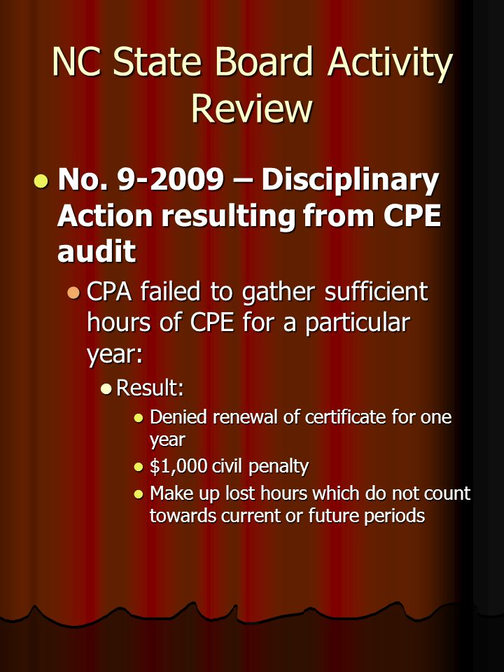 NC State Board Activity Review No. 9-2009 – Disciplinary Action resulting from CPE audit No. 9-2009 – Disciplinary Action resulting from CPE audit CPA