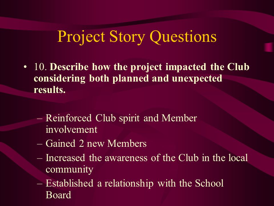Project Story Questions 10.