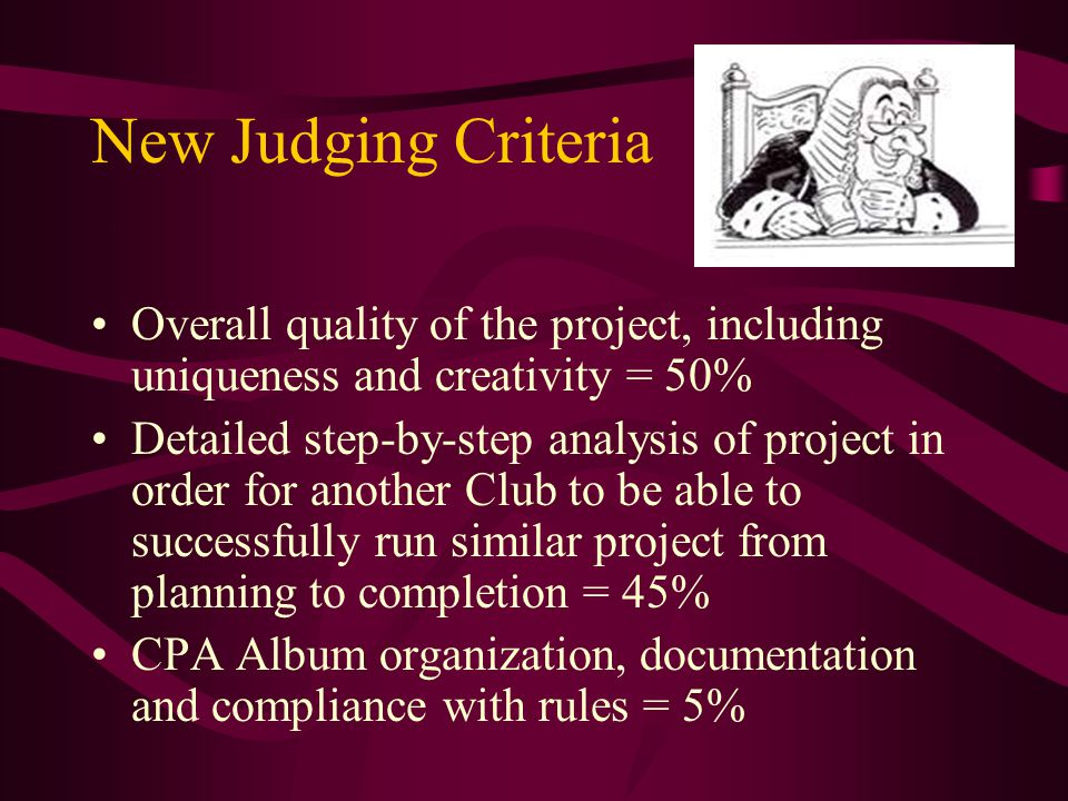 New Judging Criteria Overall quality of the project, including uniqueness and creativity = 50% Detailed step-by-step analysis of project in order for another Club to be able to successfully run similar project from planning to completion = 45% CPA Album organization, documentation and compliance with rules = 5%