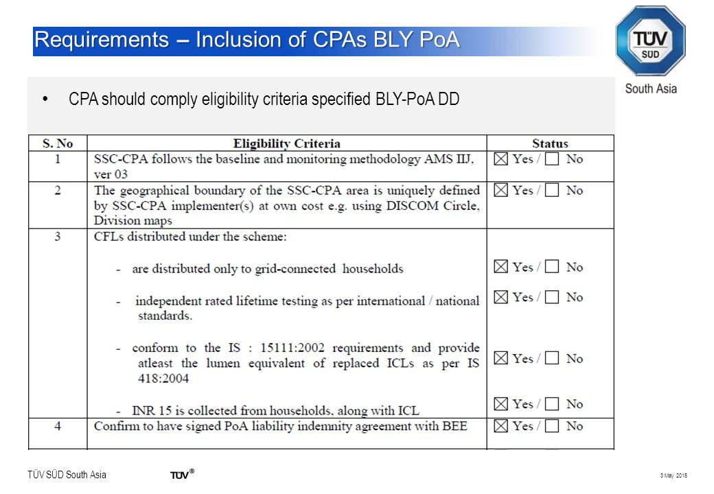 TÜV SÜD South Asia 3 May 2015 Requirements – Inclusion of CPAs BLY PoA CPA should comply eligibility criteria specified BLY-PoA DD