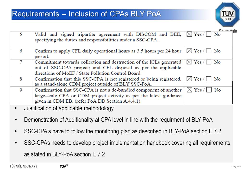 TÜV SÜD South Asia 3 May 2015 Requirements – Inclusion of CPAs BLY PoA Justification of applicable methodology Demonstration of Additionality at CPA l