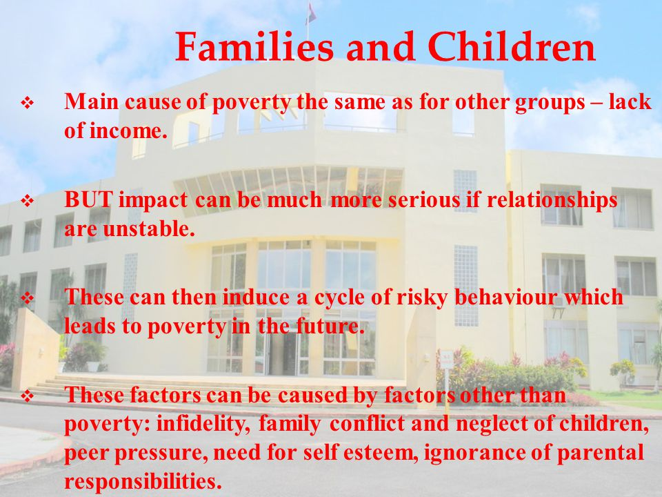 Families and Children  Main cause of poverty the same as for other groups – lack of income.