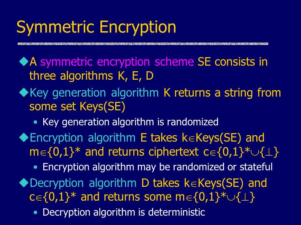 Symmetric Encryption uA symmetric encryption scheme SE consists in three algorithms K, E, D uKey generation algorithm K returns a string from some set Keys(SE) Key generation algorithm is randomized uEncryption algorithm E takes k  Keys(SE) and m  {0,1}* and returns ciphertext c  {0,1}*  {  } Encryption algorithm may be randomized or stateful uDecryption algorithm D takes k  Keys(SE) and c  {0,1}* and returns some m  {0,1}*  {  } Decryption algorithm is deterministic