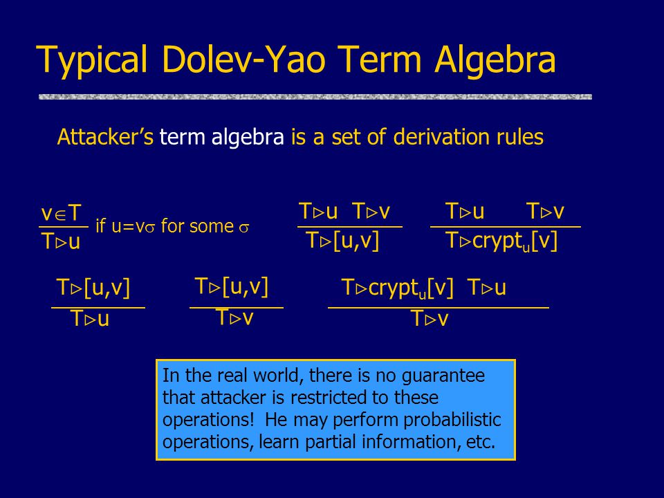 Typical Dolev-Yao Term Algebra Attacker's term algebra is a set of derivation rules T  u T  v T  [u,v] T  u T  v T  crypt u [v] v  T T  u T  [u,v] T  u T  [u,v] T  v T  crypt u [v] T  u T  v if u=v  for some  In the real world, there is no guarantee that attacker is restricted to these operations.