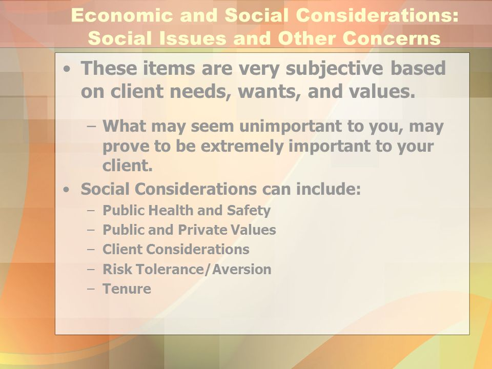 Economic and Social Considerations: Social Issues and Other Concerns These items are very subjective based on client needs, wants, and values. –What m