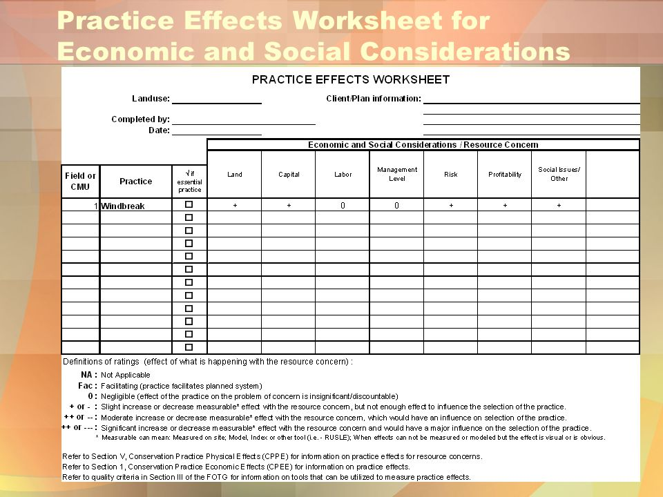 Practice Effects Worksheet for Economic and Social Considerations