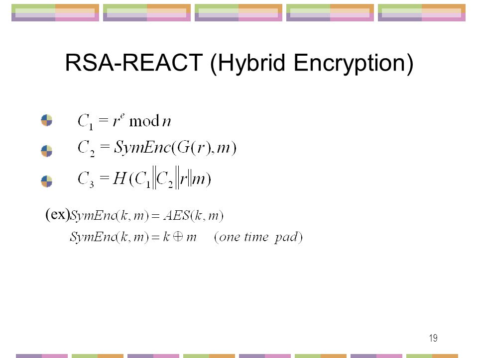 20 Comparison of the RSA Family SchemesSecurityAssumptionReduction Efficiency Provable Hybrid Usage Number- Theoretic Functio nal RSA-OAEPIND-CCA2RSAROM * No RSA-OAEP+IND-CCA2RSAROM * No RSA-SAEP (low exponent) IND-CCA2 RSA with low exponent ROM * * * No RSA-REACTIND-CCA2RSAROM * * * Yes