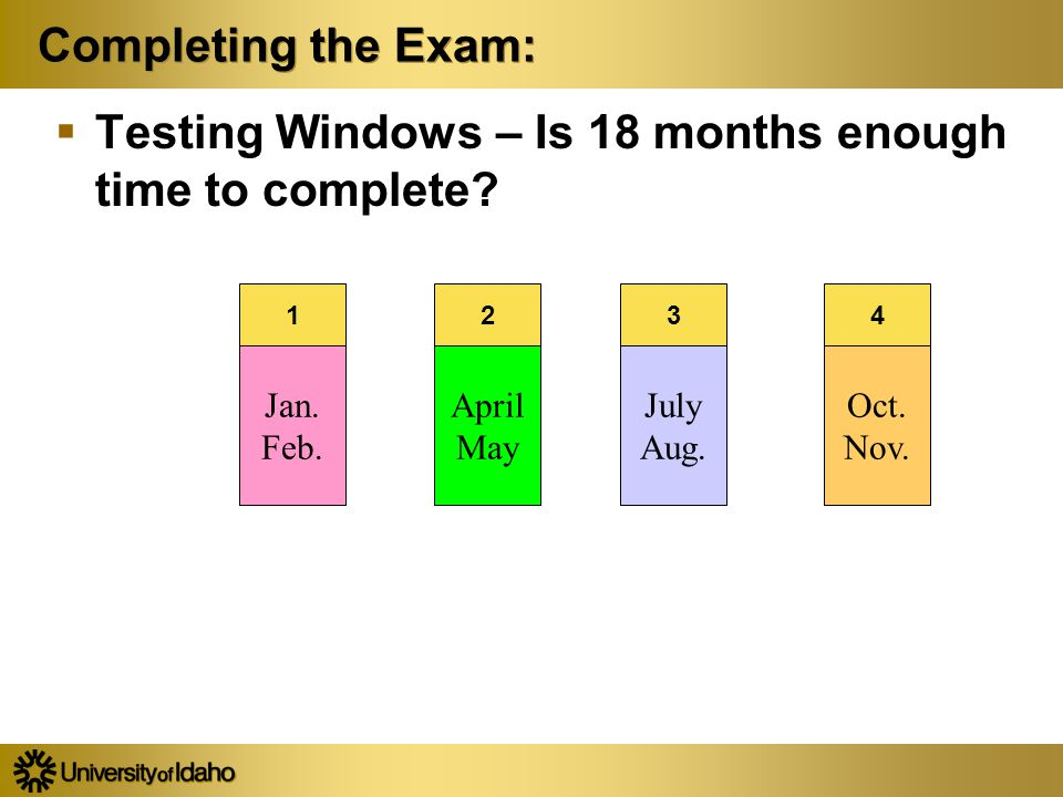 Completing the Exam:  Testing Windows – Is 18 months enough time to complete.