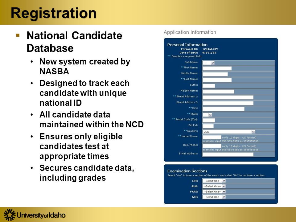Registration  National Candidate Database New system created by NASBA Designed to track each candidate with unique national ID All candidate data mai