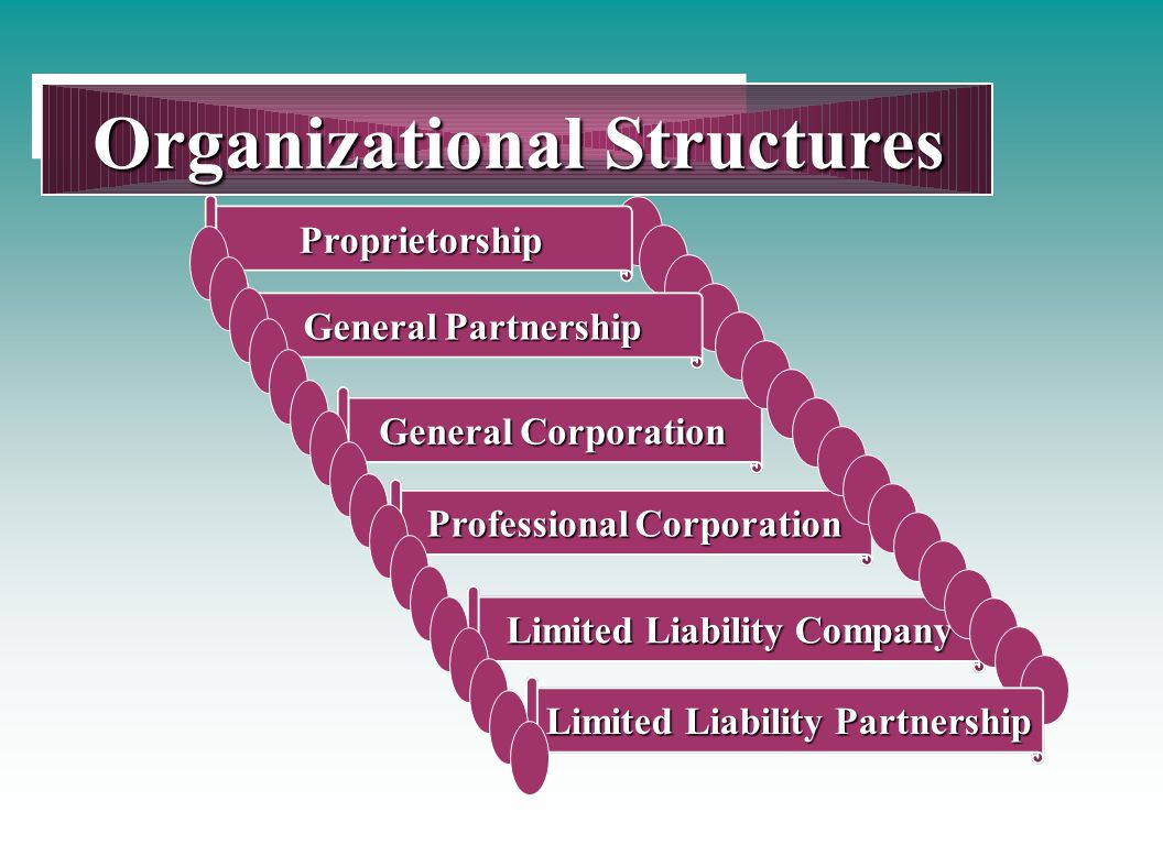 Professional Corporation Organizational Structures General Corporation Limited Liability Company Proprietorship General Partnership Limited Liability