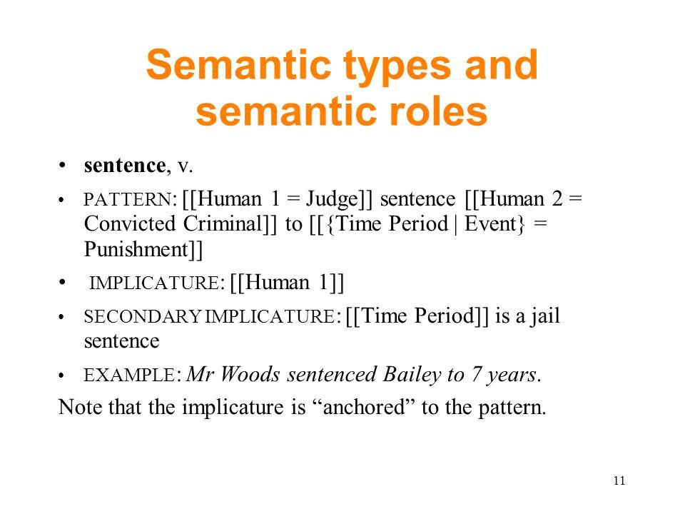 Semantic types and semantic roles sentence, v.