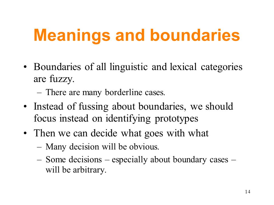 Meanings and boundaries Boundaries of all linguistic and lexical categories are fuzzy.