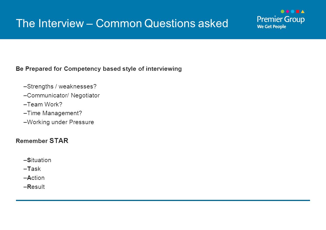 The Interview – Common Questions asked Be Prepared for Competency based style of interviewing –Strengths / weaknesses.