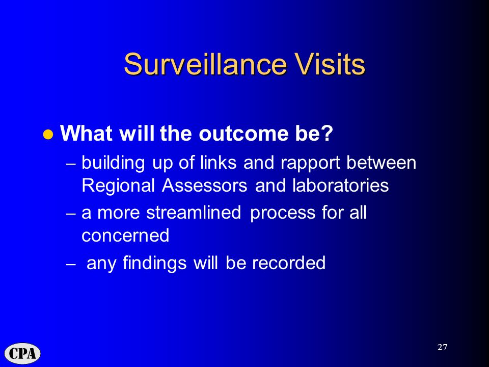 27 Surveillance Visits What will the outcome be.