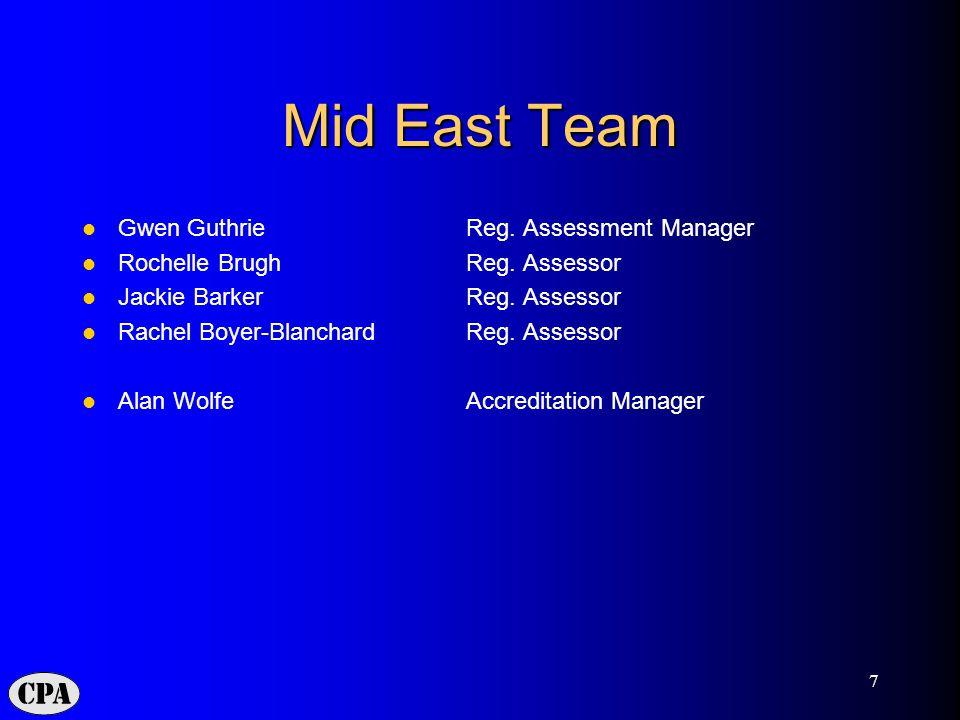 7 Mid East Team Gwen GuthrieReg. Assessment Manager Rochelle Brugh Reg.