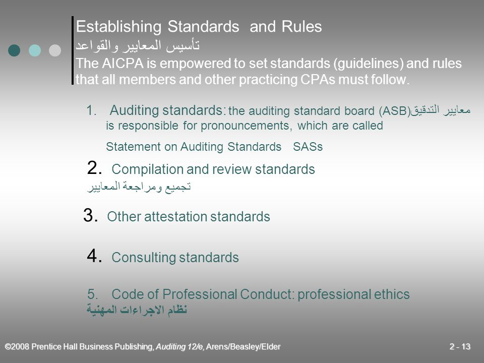 ©2008 Prentice Hall Business Publishing, Auditing 12/e, Arens/Beasley/Elder 2 - 13 Establishing Standards and Rules تأسيس المعايير والقواعد The AICPA