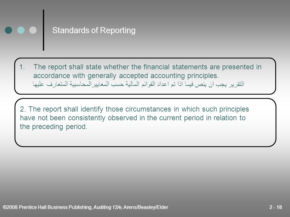 ©2008 Prentice Hall Business Publishing, Auditing 12/e, Arens/Beasley/Elder 2 - 18 1.The report shall state whether the financial statements are presented in accordance with generally accepted accounting principles.