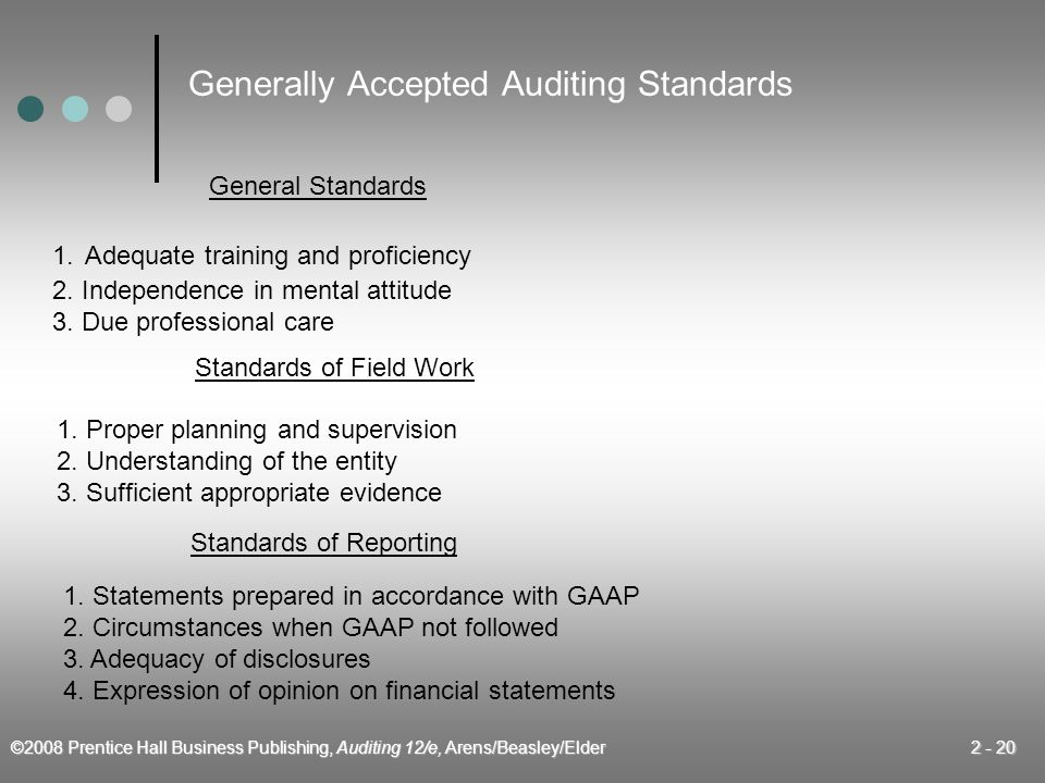 ©2008 Prentice Hall Business Publishing, Auditing 12/e, Arens/Beasley/Elder 2 - 20 Generally Accepted Auditing Standards General Standards 1. Adequate