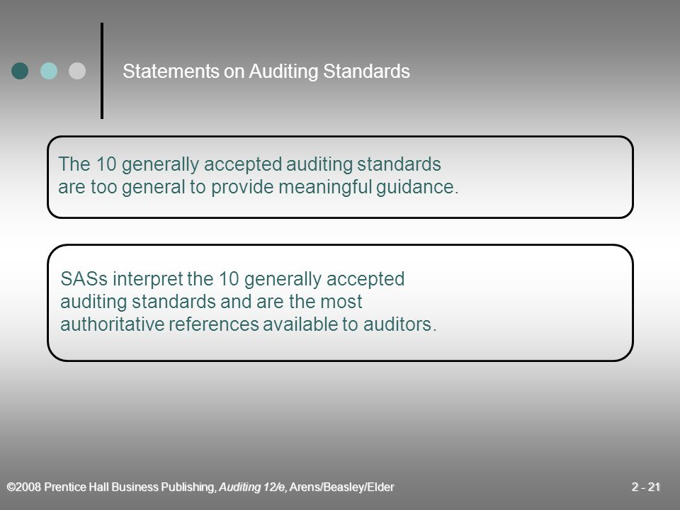 ©2008 Prentice Hall Business Publishing, Auditing 12/e, Arens/Beasley/Elder 2 - 21 The 10 generally accepted auditing standards are too general to provide meaningful guidance.
