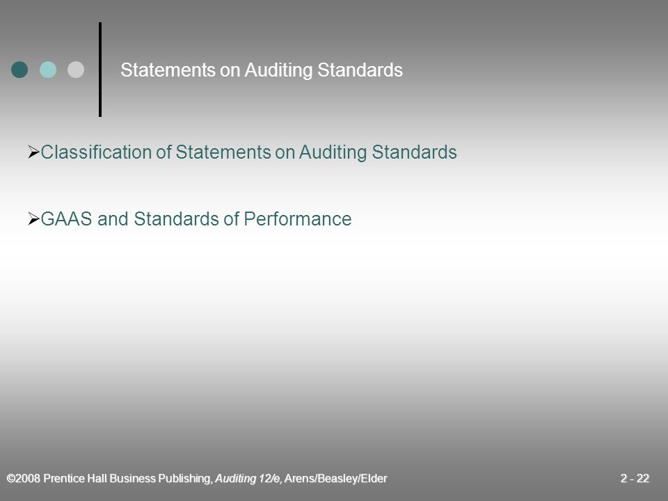 ©2008 Prentice Hall Business Publishing, Auditing 12/e, Arens/Beasley/Elder 2 - 22  GAAS and Standards of Performance Statements on Auditing Standards  Classification of Statements on Auditing Standards