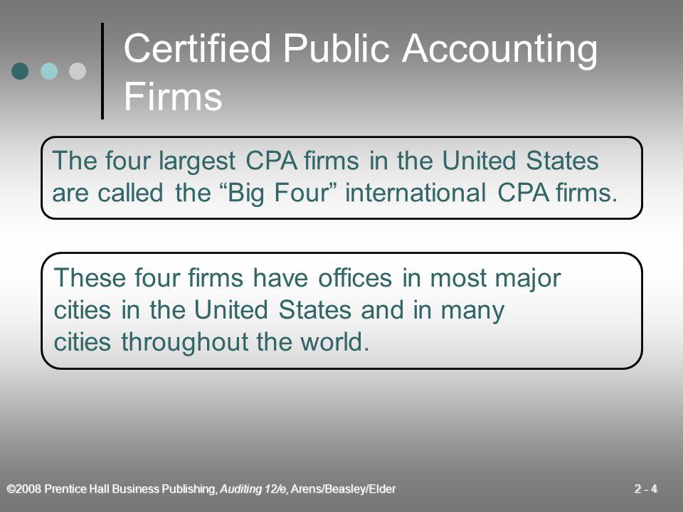 ©2008 Prentice Hall Business Publishing, Auditing 12/e, Arens/Beasley/Elder 2 - 5  Management consulting services  Tax services  Accounting and bookkeeping services Activities of CPA Firms
