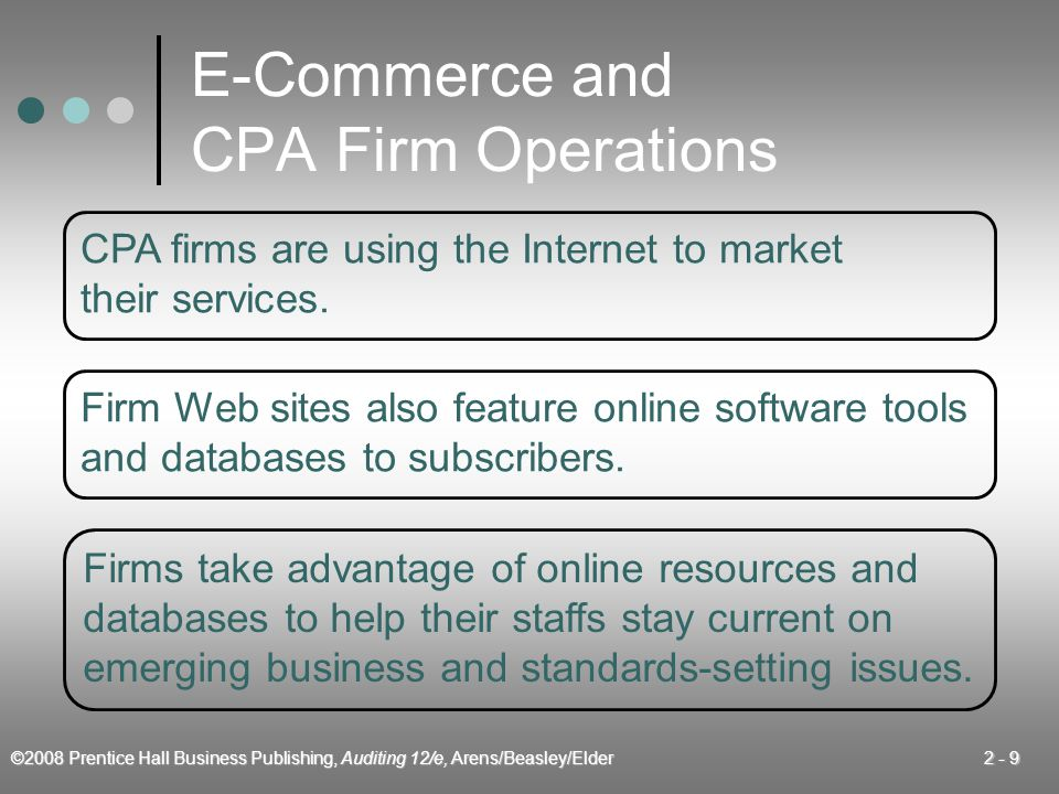 ©2008 Prentice Hall Business Publishing, Auditing 12/e, Arens/Beasley/Elder 2 - 9 E-Commerce and CPA Firm Operations CPA firms are using the Internet to market their services.