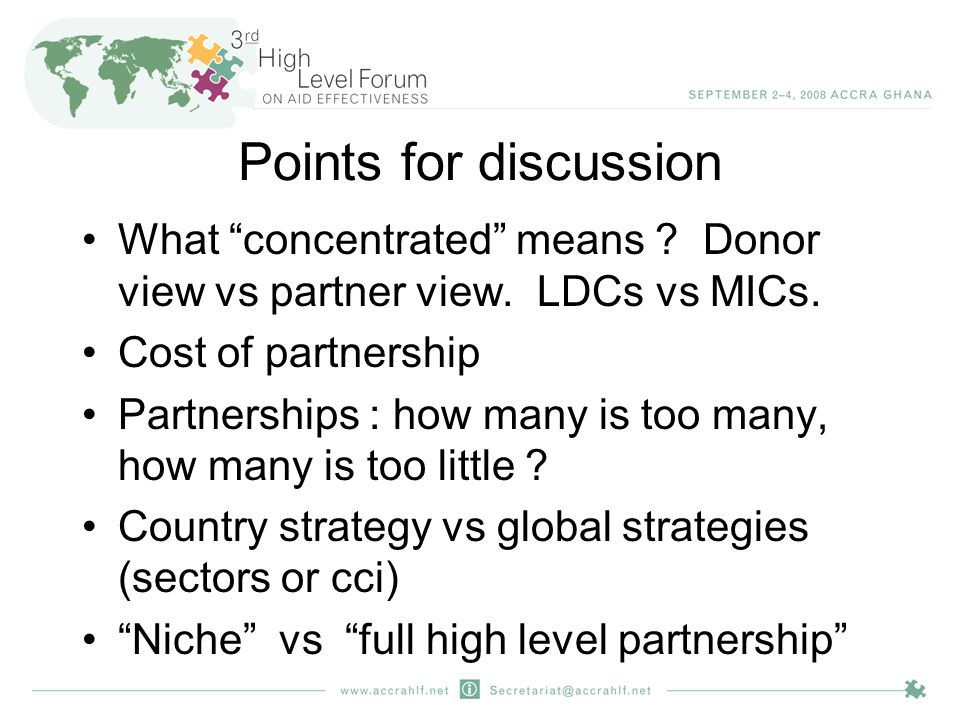 Points for discussion What concentrated means . Donor view vs partner view.