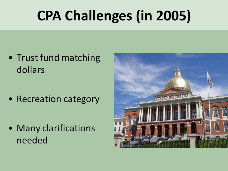 Trust fund matching dollars Recreation category Many clarifications needed CPA Challenges (in 2005)
