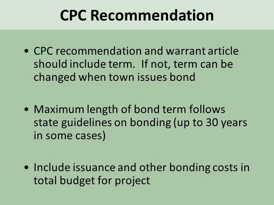 CPC recommendation and warrant article should include term.
