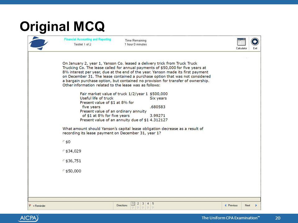 The Uniform CPA Examination ™ Original MCQ 20