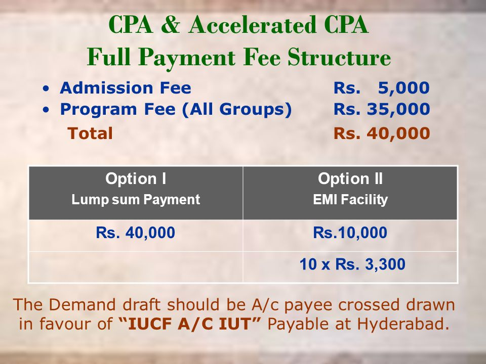 CPA & Accelerated CPA Full Payment Fee Structure Admission FeeRs. 5,000 Program Fee (All Groups) Rs. 35,000 Total Rs. 40,000 Option I Lump sum Payment