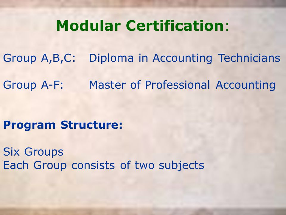 Modular Certification: Group A,B,C:Diploma in Accounting Technicians Group A-F:Master of Professional Accounting Program Structure: Six Groups Each Gr