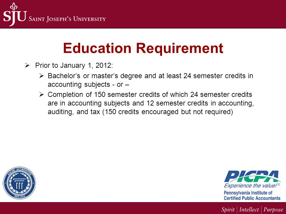 Education Requirement  Prior to January 1, 2012:  Bachelor's or master's degree and at least 24 semester credits in accounting subjects - or –  Completion of 150 semester credits of which 24 semester credits are in accounting subjects and 12 semester credits in accounting, auditing, and tax (150 credits encouraged but not required)