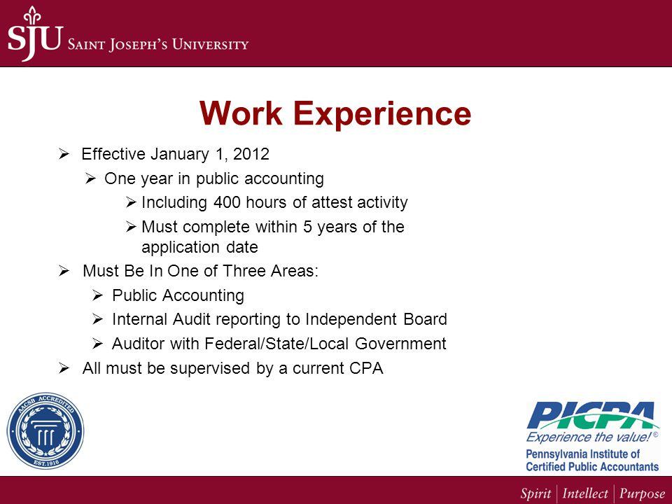 Work Experience  Effective January 1, 2012  One year in public accounting  Including 400 hours of attest activity  Must complete within 5 years of the application date  Must Be In One of Three Areas:  Public Accounting  Internal Audit reporting to Independent Board  Auditor with Federal/State/Local Government  All must be supervised by a current CPA