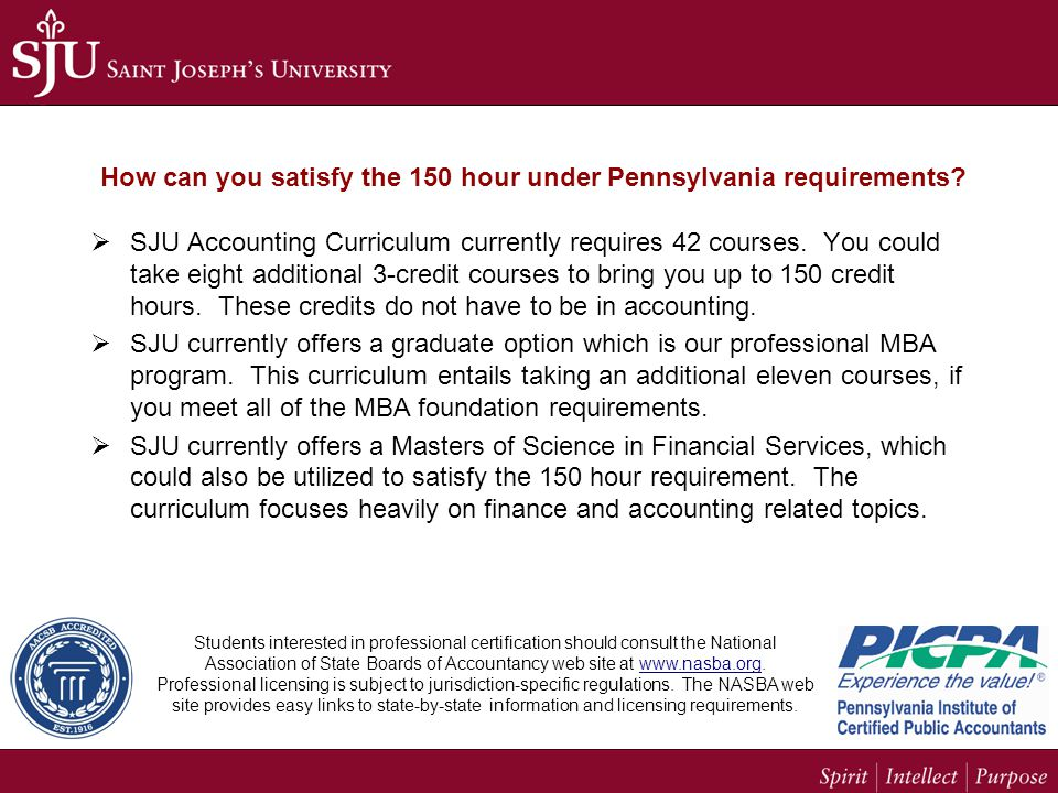 How can you satisfy the 150 hour under Pennsylvania requirements.