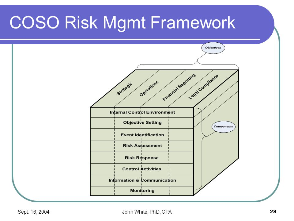 Sept. 16, 2004John White, PhD, CPA28 COSO Risk Mgmt Framework