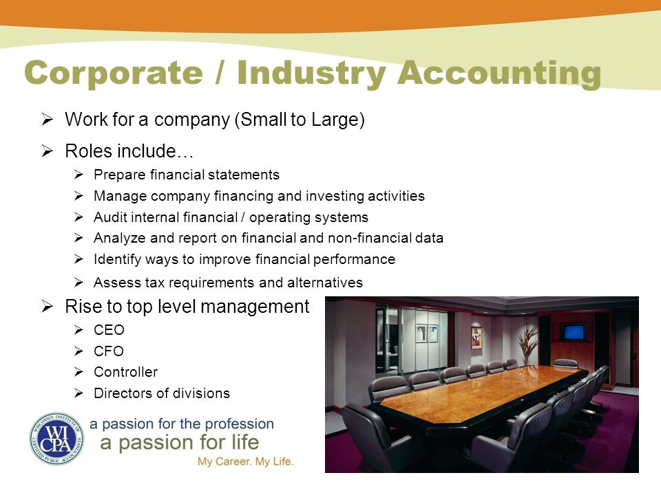 Corporate / Industry Accounting  Work for a company (Small to Large)  Roles include…  Prepare financial statements  Manage company financing and investing activities  Audit internal financial / operating systems  Analyze and report on financial and non-financial data  Identify ways to improve financial performance  Assess tax requirements and alternatives  Rise to top level management  CEO  CFO  Controller  Directors of divisions