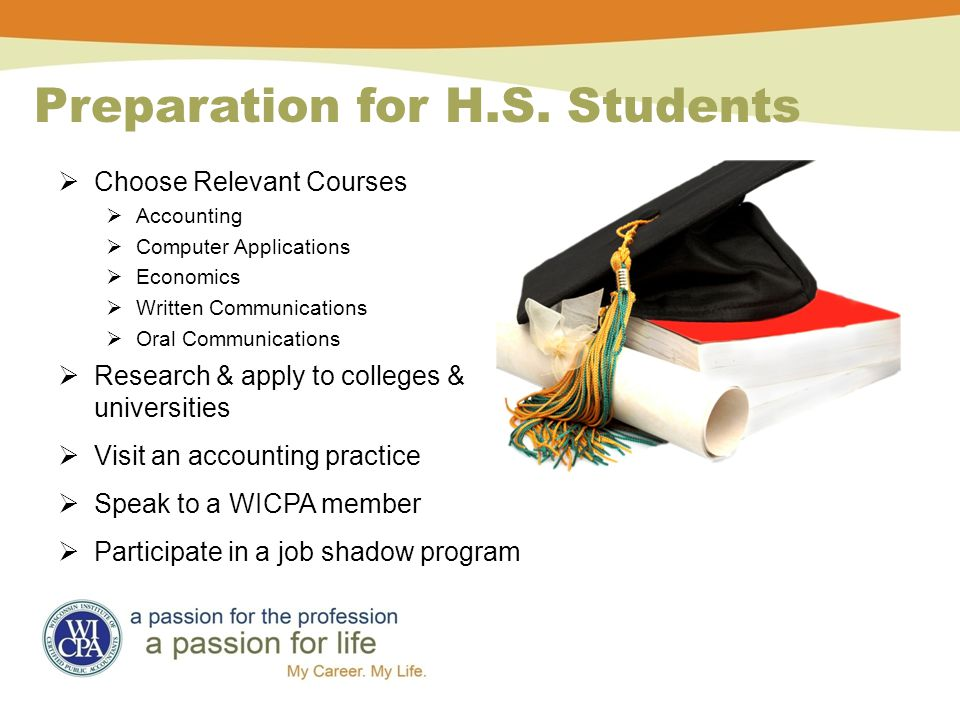 Preparation for H.S. Students  Choose Relevant Courses  Accounting  Computer Applications  Economics  Written Communications  Oral Communication