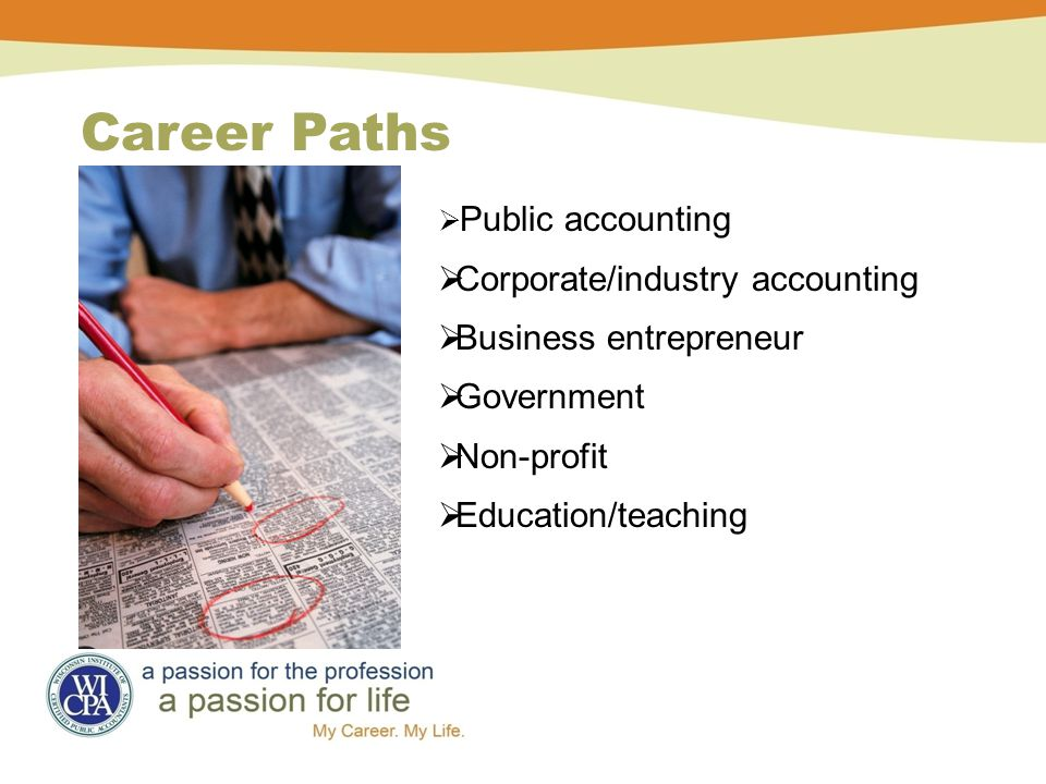  Public accounting  Corporate/industry accounting  Business entrepreneur  Government  Non-profit  Education/teaching Career Paths