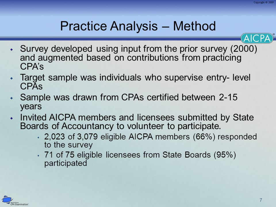 Practice Analysis – Method  Survey developed using input from the prior survey (2000) and augmented based on contributions from practicing CPA's  Target sample was individuals who supervise entry- level CPAs  Sample was drawn from CPAs certified between 2-15 years  Invited AICPA members and licensees submitted by State Boards of Accountancy to volunteer to participate.