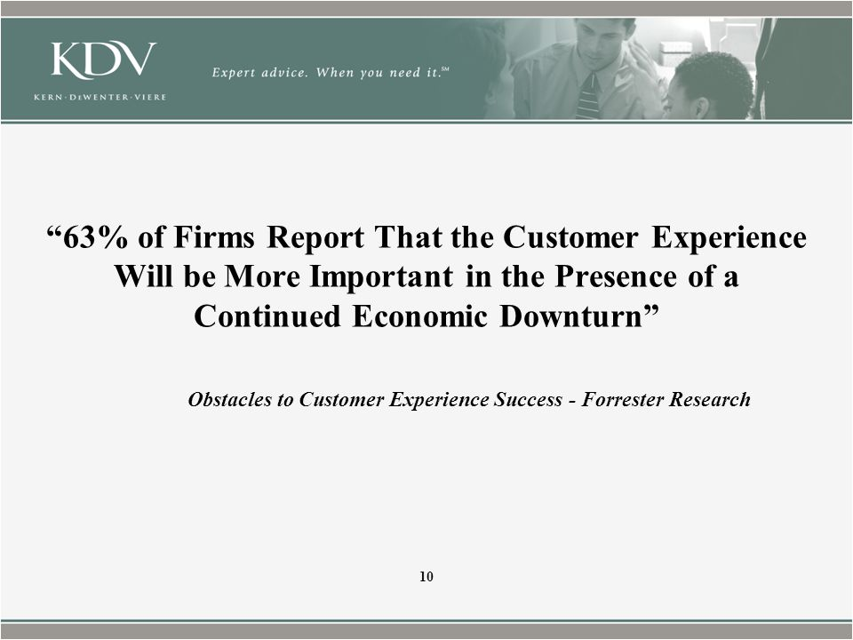 63% of Firms Report That the Customer Experience Will be More Important in the Presence of a Continued Economic Downturn Obstacles to Customer Experience Success - Forrester Research 10